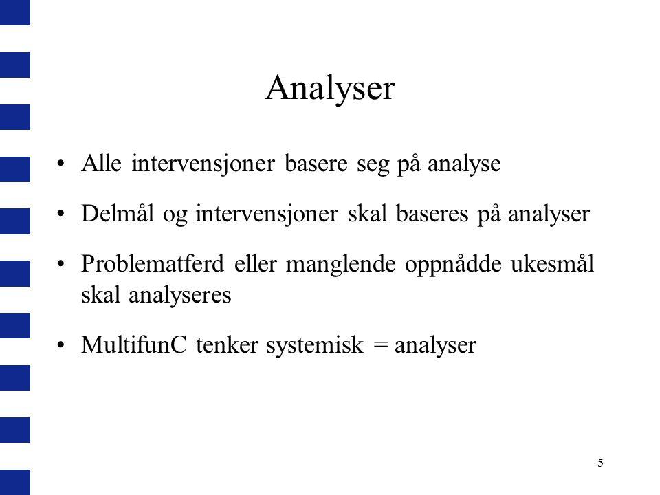 5 Analyser Alle intervensjoner basere seg på analyse Delmål og intervensjoner skal baseres på analyser Problematferd eller manglende oppnådde ukesmål