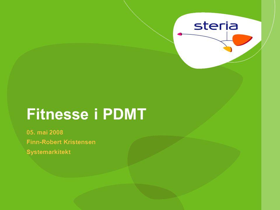 © Steria | 05/05-2008Fitnesse i PDMTp12 Sidestruktur (1/2) Hvert prosjekt har en hovedside  Utvikler spesifikke settings  Utvikler har kopi av server (wiki import) Delt opp i to konfigurasjoner  Stabil konfigurasjon  Utviklingskonfigurasjon