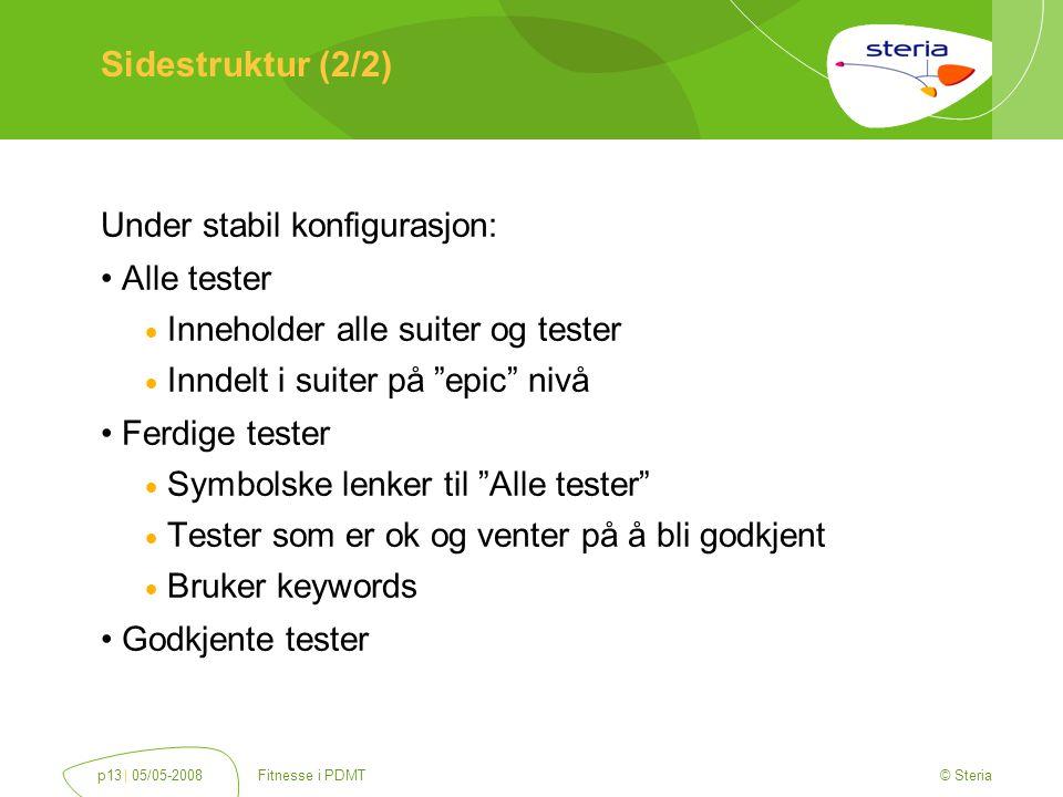 © Steria | 05/05-2008Fitnesse i PDMTp13 Sidestruktur (2/2) Under stabil konfigurasjon: Alle tester  Inneholder alle suiter og tester  Inndelt i suiter på epic nivå Ferdige tester  Symbolske lenker til Alle tester  Tester som er ok og venter på å bli godkjent  Bruker keywords Godkjente tester