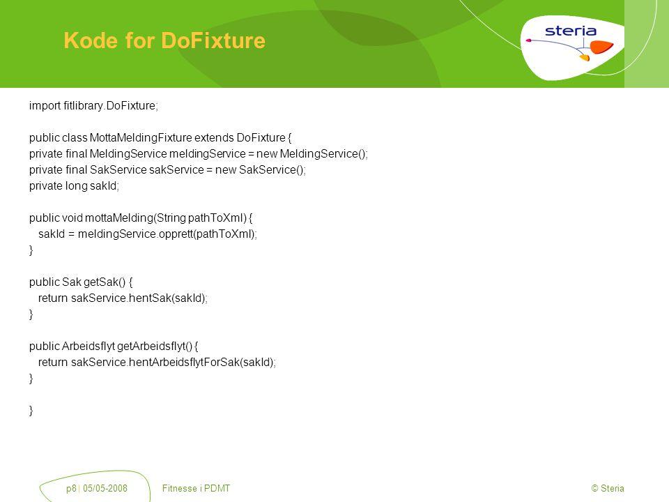 © Steria | 05/05-2008Fitnesse i PDMTp9 Konfigurasjon SuiteFixture  Definer en.SuiteSetUp side  Genialt til å sette opp spring, hibernate  Kjøres en gang  Enkelt å styre runtime parametere  Fungerer som en DoFixture