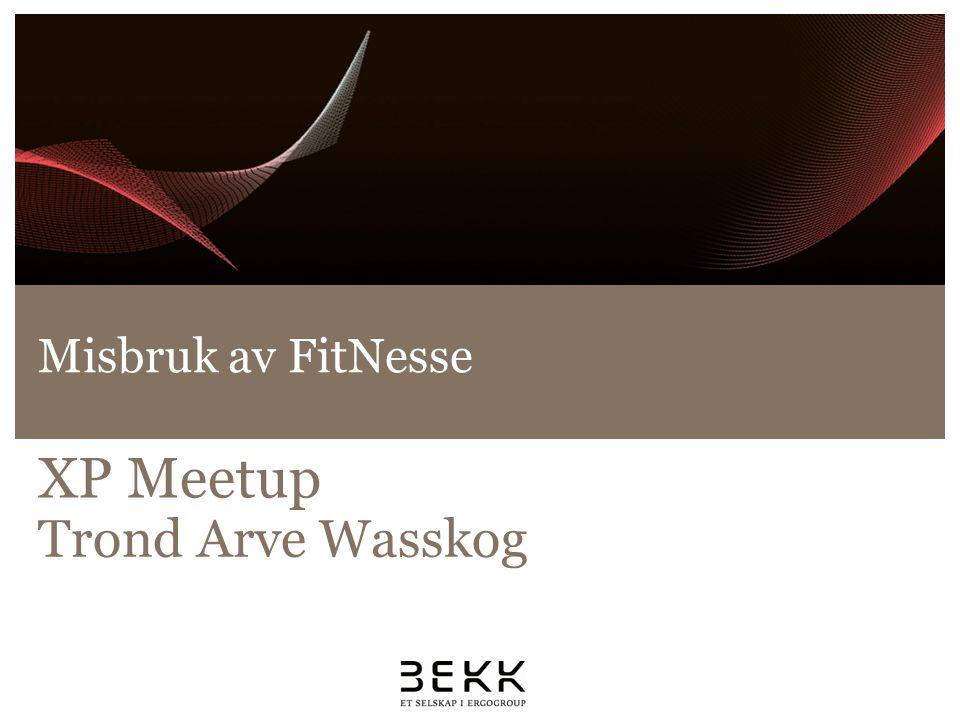Misbruk av FitNesse XP Meetup Trond Arve Wasskog