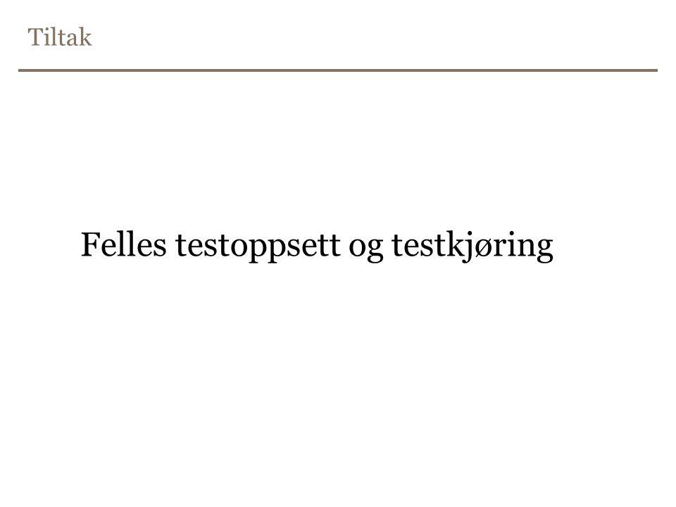 Tiltak Felles testoppsett og testkjøring