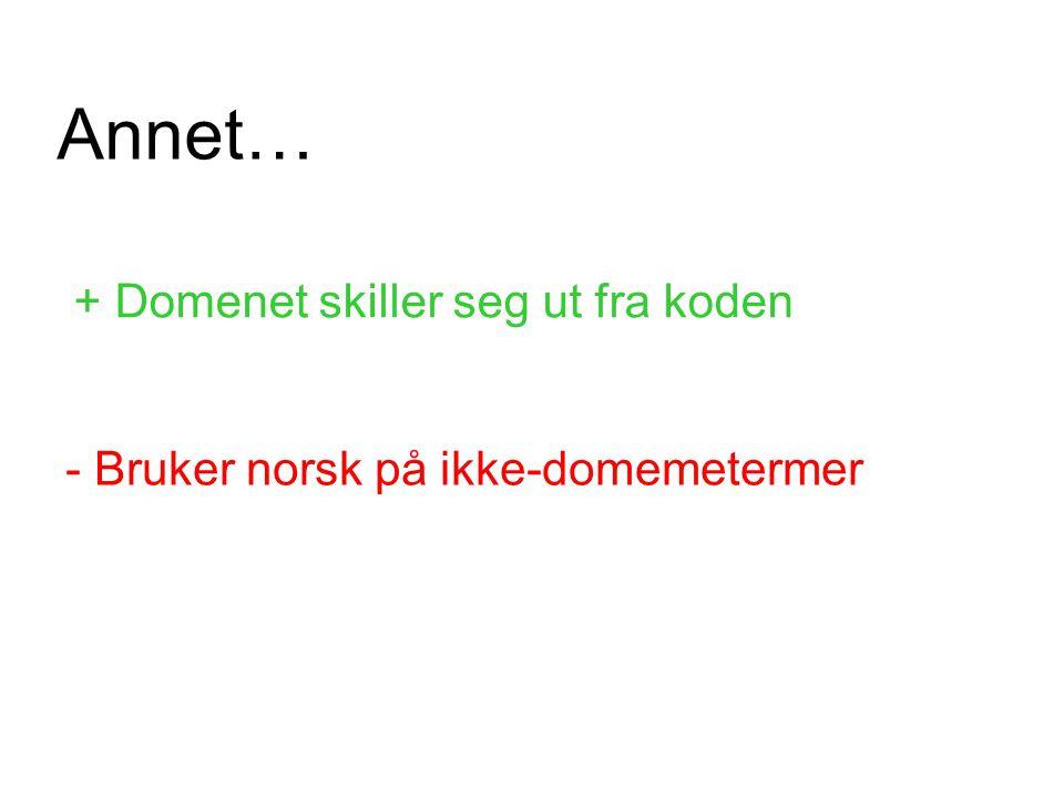 + Domenet skiller seg ut fra koden - Bruker norsk på ikke-domemetermer Annet…