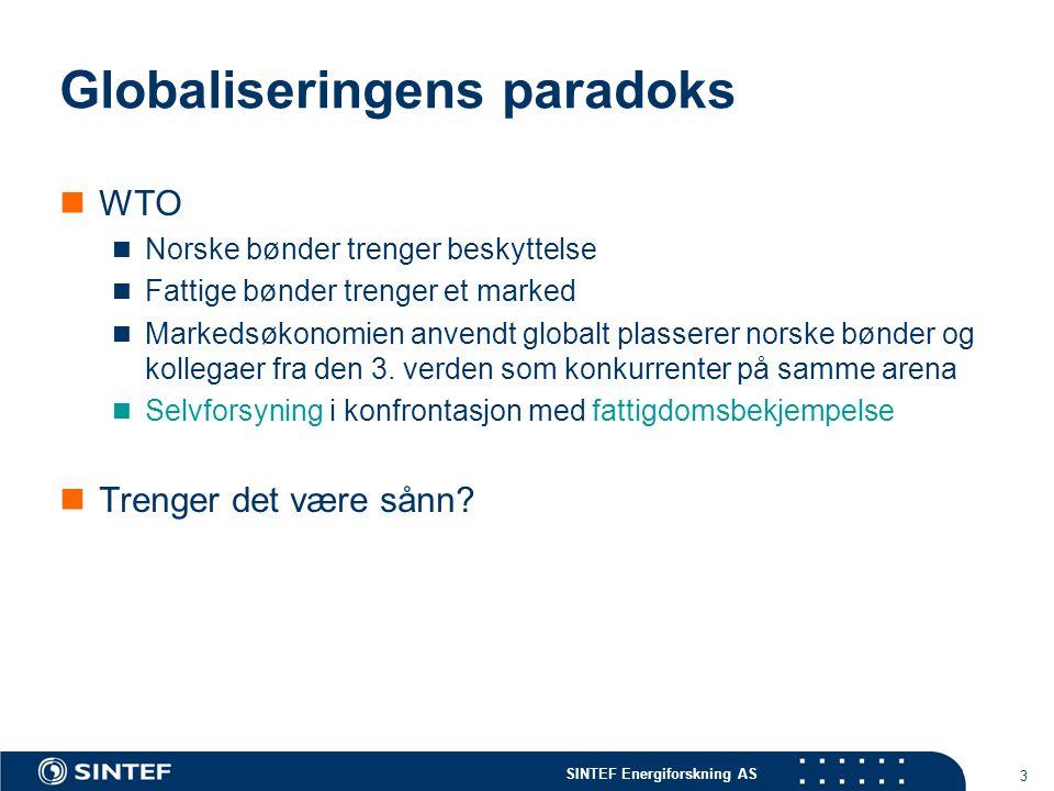 SINTEF Energiforskning AS 3 Globaliseringens paradoks WTO Norske bønder trenger beskyttelse Fattige bønder trenger et marked Markedsøkonomien anvendt globalt plasserer norske bønder og kollegaer fra den 3.