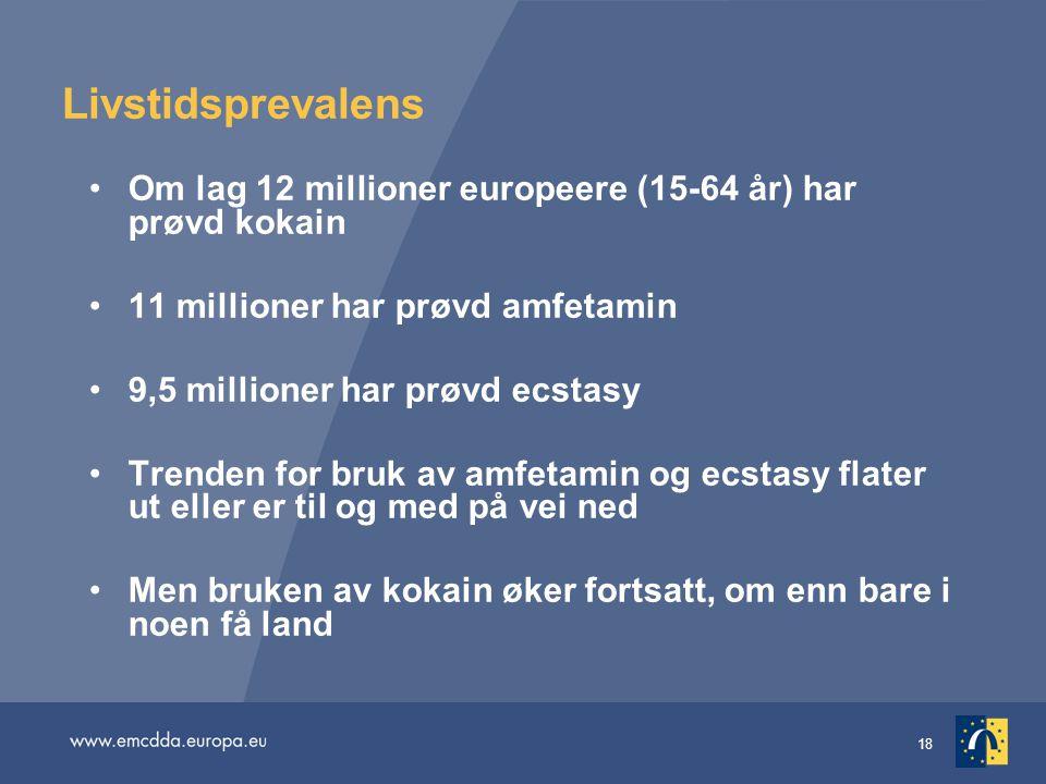 18 Livstidsprevalens Om lag 12 millioner europeere (15-64 år) har prøvd kokain 11 millioner har prøvd amfetamin 9,5 millioner har prøvd ecstasy Trende