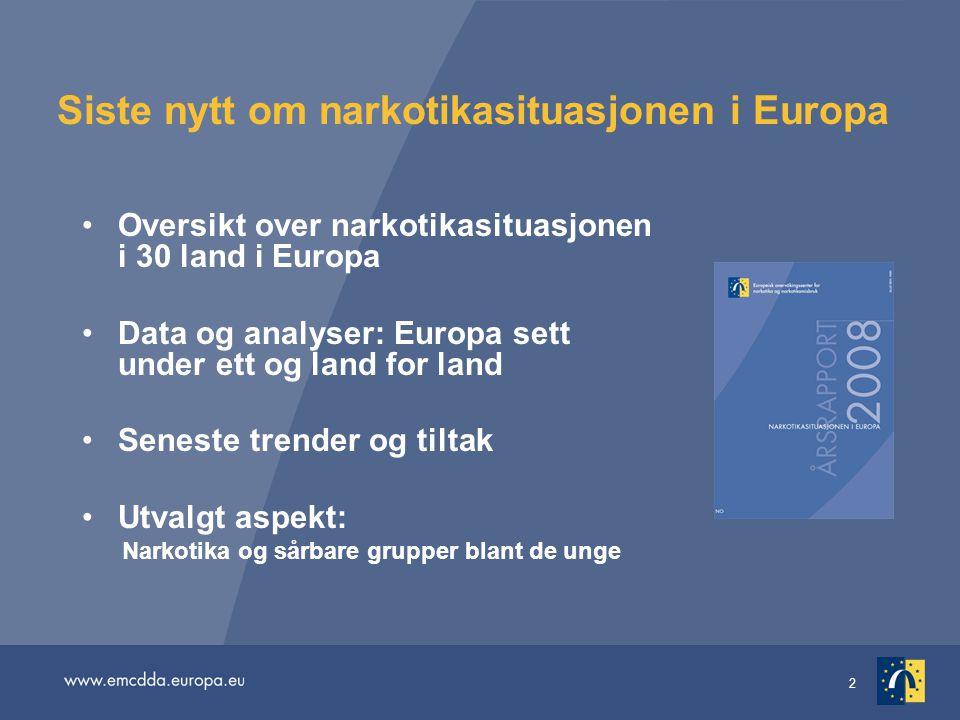2 Siste nytt om narkotikasituasjonen i Europa Oversikt over narkotikasituasjonen i 30 land i Europa Data og analyser: Europa sett under ett og land fo
