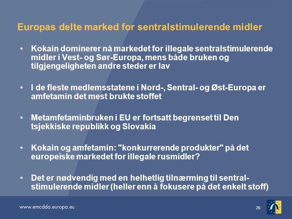 26 Europas delte marked for sentralstimulerende midler Kokain dominerer nå markedet for illegale sentralstimulerende midler i Vest- og Sør-Europa, men