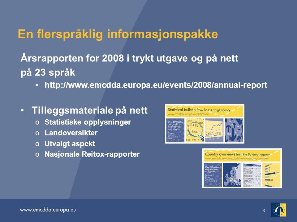 3 En flerspråklig informasjonspakke Årsrapporten for 2008 i trykt utgave og på nett på 23 språk http://www.emcdda.europa.eu/events/2008/annual-report