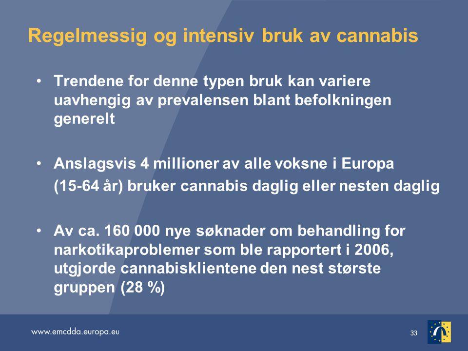 33 Regelmessig og intensiv bruk av cannabis Trendene for denne typen bruk kan variere uavhengig av prevalensen blant befolkningen generelt Anslagsvis