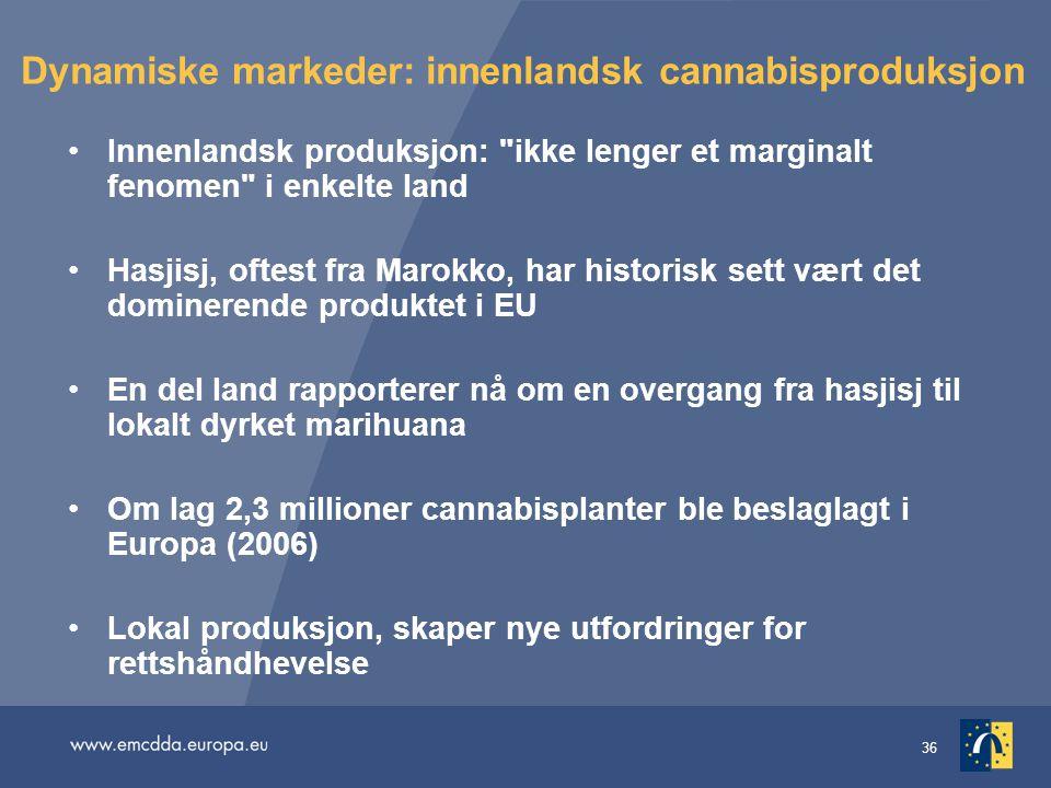 36 Dynamiske markeder: innenlandsk cannabisproduksjon Innenlandsk produksjon: