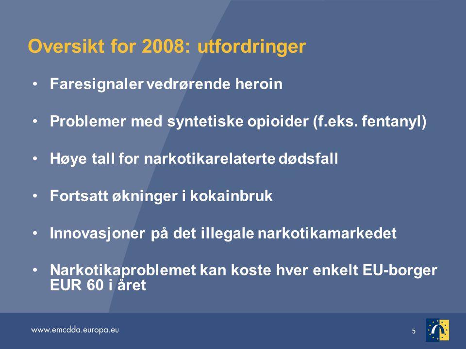 5 Oversikt for 2008: utfordringer Faresignaler vedrørende heroin Problemer med syntetiske opioider (f.eks. fentanyl) Høye tall for narkotikarelaterte