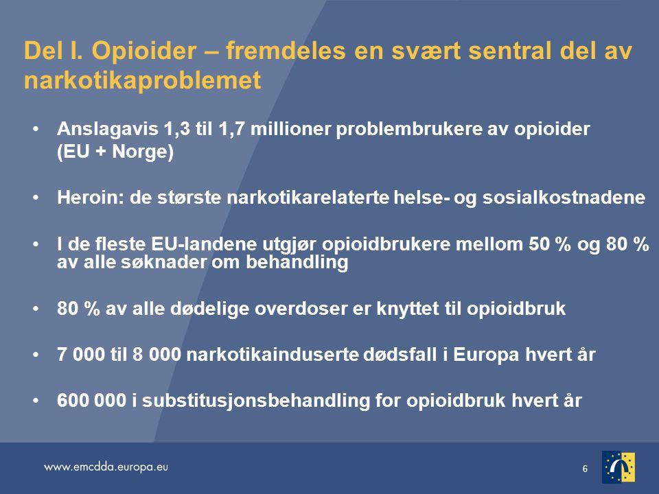 6 Del I. Opioider – fremdeles en svært sentral del av narkotikaproblemet Anslagavis 1,3 til 1,7 millioner problembrukere av opioider (EU + Norge) Hero