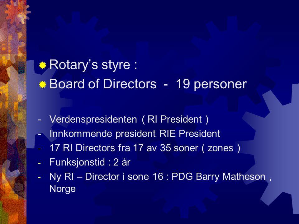  Rotary's styre :  Board of Directors - 19 personer - Verdenspresidenten ( RI President ) - Innkommende president RIE President - 17 RI Directors fra 17 av 35 soner ( zones ) - Funksjonstid : 2 år - Ny RI – Director i sone 16 : PDG Barry Matheson, Norge