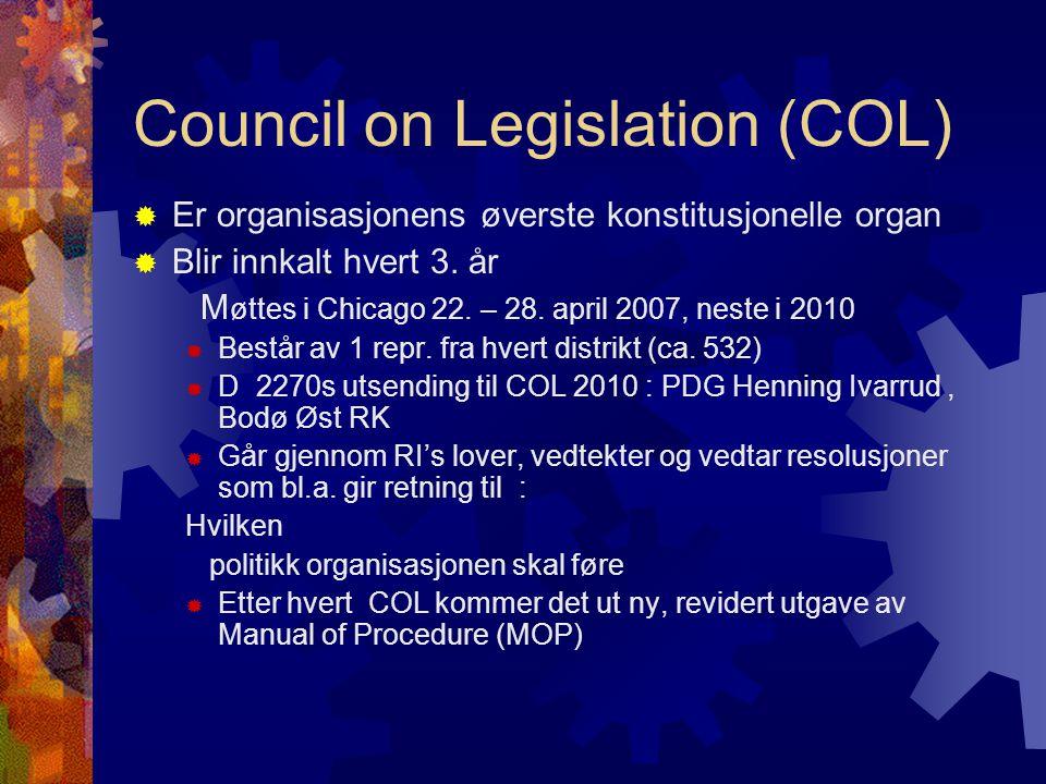 Council on Legislation (COL)  Er organisasjonens øverste konstitusjonelle organ  Blir innkalt hvert 3.