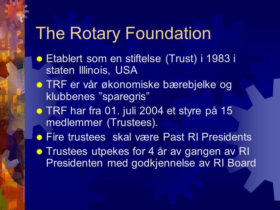 The Rotary Foundation  Etablert som en stiftelse (Trust) i 1983 i staten Illinois, USA  TRF er vår økonomiske bærebjelke og klubbenes sparegris  TRF har fra 01.