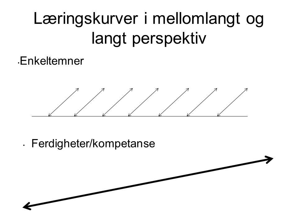 Læringskurver i mellomlangt og langt perspektiv Enkeltemner Ferdigheter/kompetanse
