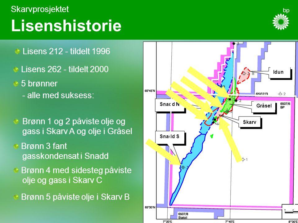4A 4 Skarvprosjektet Lisenshistorie Lisens 262 - tildelt 2000 5 brønner - alle med suksess: Brønn 3 fant gasskondensat i Snadd Brønn 1 og 2 påviste olje og gass i Skarv A og olje i Gråsel Brønn 4 med sidesteg påviste olje og gass i Skarv C Skarv Gråsel Idun Snadd N Snadd S Lisens 212 - tildelt 1996 Brønn 5 påviste olje i Skarv B 5