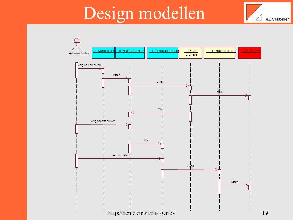 http://home.eunet.no/~geirov18 Design modellen : Administrator : UI_Kundekontroll : UI_Brukerkontroll : DB_Bruker : 1.3.Vis brukere : 1.1.Opprett bruker : UI_Opprett bruker 1: Velg brukerkontroll 6: Velg opprett bruker 8: Tast inn data 2: Utfør 7: Vis 4: Hent 5: Vis 3: Utfør 9: Send 10: Utfør