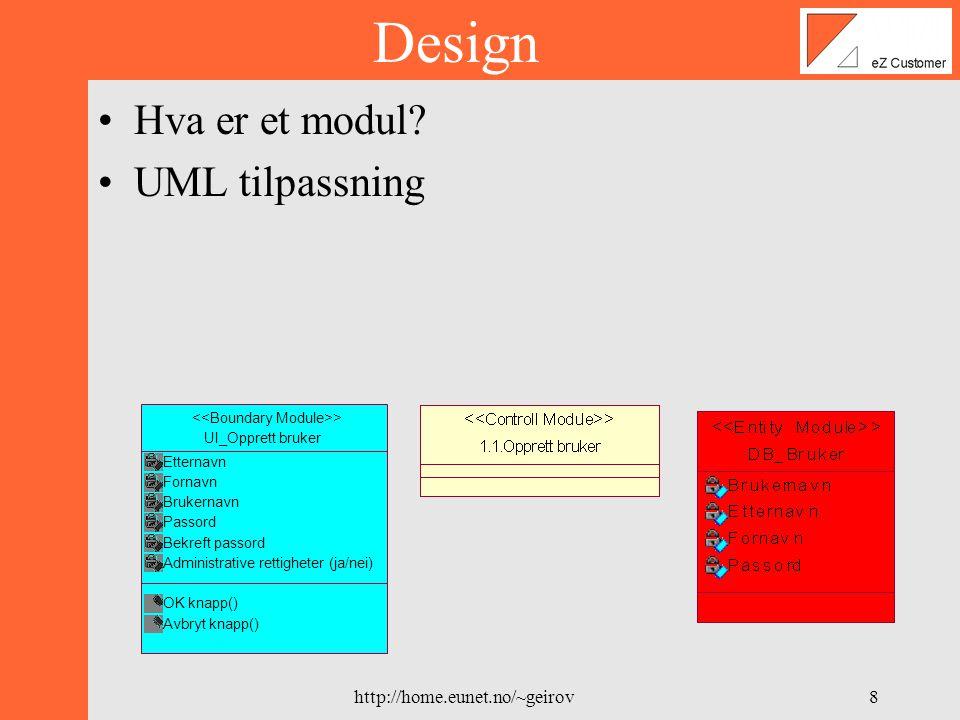 http://home.eunet.no/~geirov7 Design Eksempel Databasemodell Implementasjon Prosjektplan Teknisk del