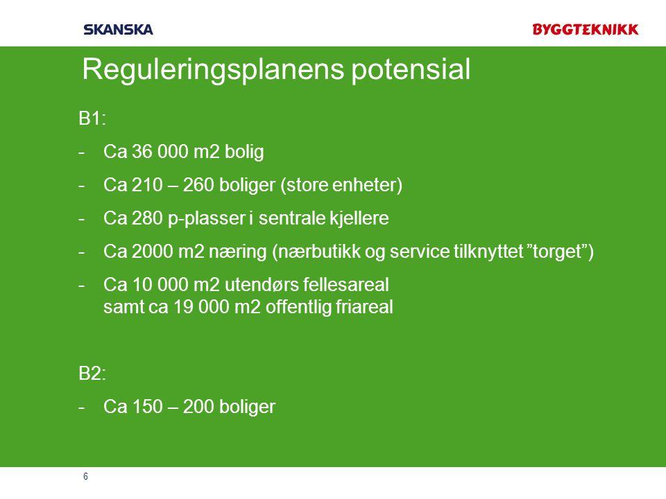 6 Reguleringsplanens potensial B1: -Ca 36 000 m2 bolig -Ca 210 – 260 boliger (store enheter) -Ca 280 p-plasser i sentrale kjellere -Ca 2000 m2 næring