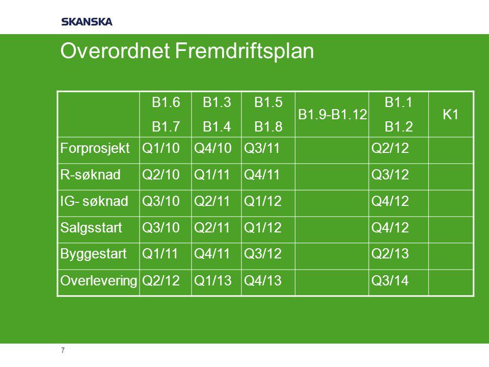 7 Overordnet Fremdriftsplan B1.6 B1.7 B1.3 B1.4 B1.5 B1.8 B1.9-B1.12 B1.1 B1.2 K1 ForprosjektQ1/10Q4/10Q3/11Q2/12 R-søknadQ2/10Q1/11Q4/11Q3/12 IG- søk