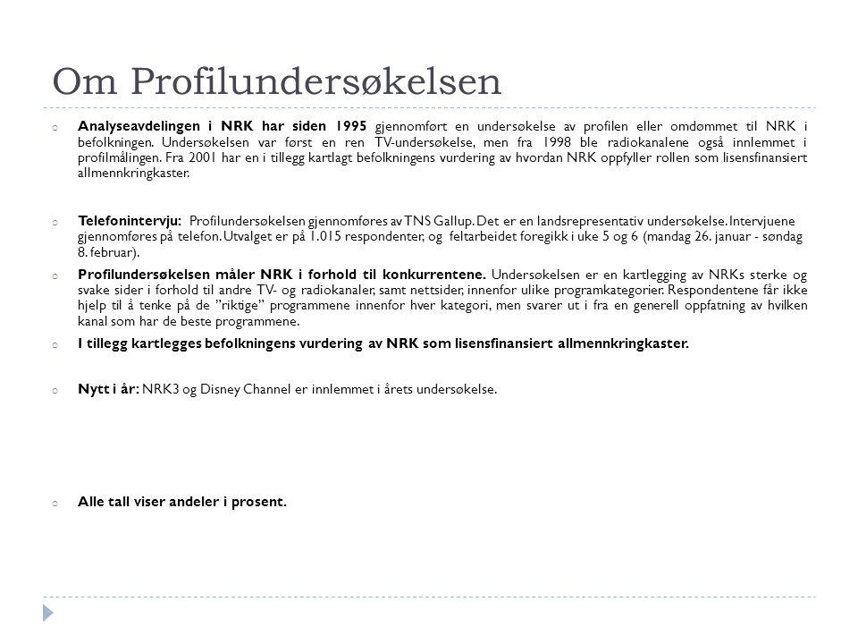Om Profilundersøkelsen o Analyseavdelingen i NRK har siden 1995 gjennomført en undersøkelse av profilen eller omdømmet til NRK i befolkningen. Undersø