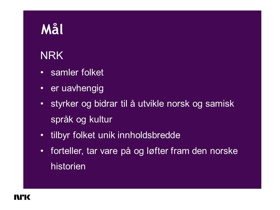 Mål NRK samler folket er uavhengig styrker og bidrar til å utvikle norsk og samisk språk og kultur tilbyr folket unik innholdsbredde forteller, tar vare på og løfter fram den norske historien