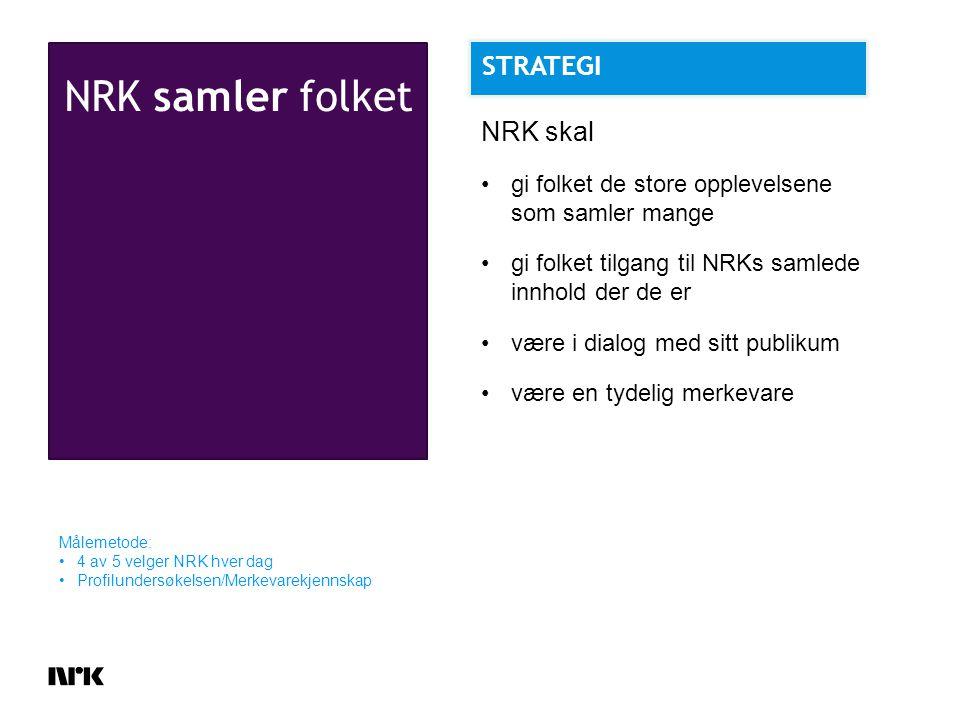 NRK samler folket Målemetode: 4 av 5 velger NRK hver dag Profilundersøkelsen/Merkevarekjennskap NRK skal gi folket de store opplevelsene som samler mange gi folket tilgang til NRKs samlede innhold der de er være i dialog med sitt publikum være en tydelig merkevare STRATEGI