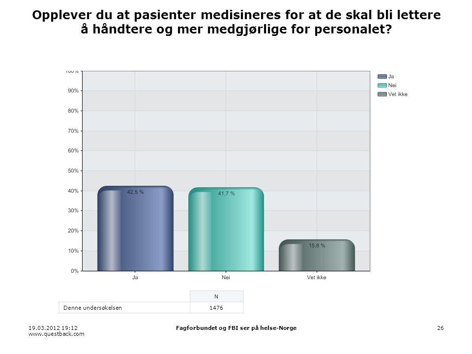 19.03.2012 19:12 www.questback.com Fagforbundet og FBI ser på helse-Norge26 Opplever du at pasienter medisineres for at de skal bli lettere å håndtere og mer medgjørlige for personalet.