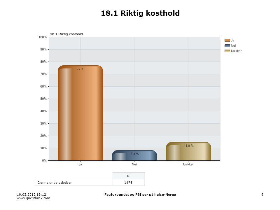 19.03.2012 19:12 www.questback.com Fagforbundet og FBI ser på helse-Norge9 18.1 Riktig kosthold N Denne undersøkelsen1476