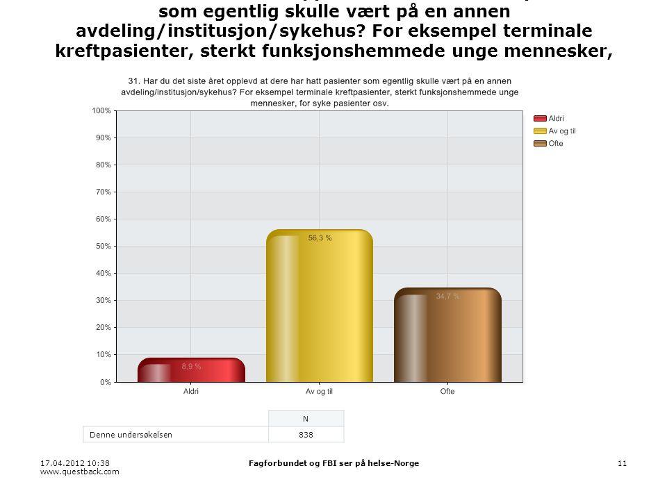 17.04.2012 10:38 www.questback.com Fagforbundet og FBI ser på helse-Norge11 31.