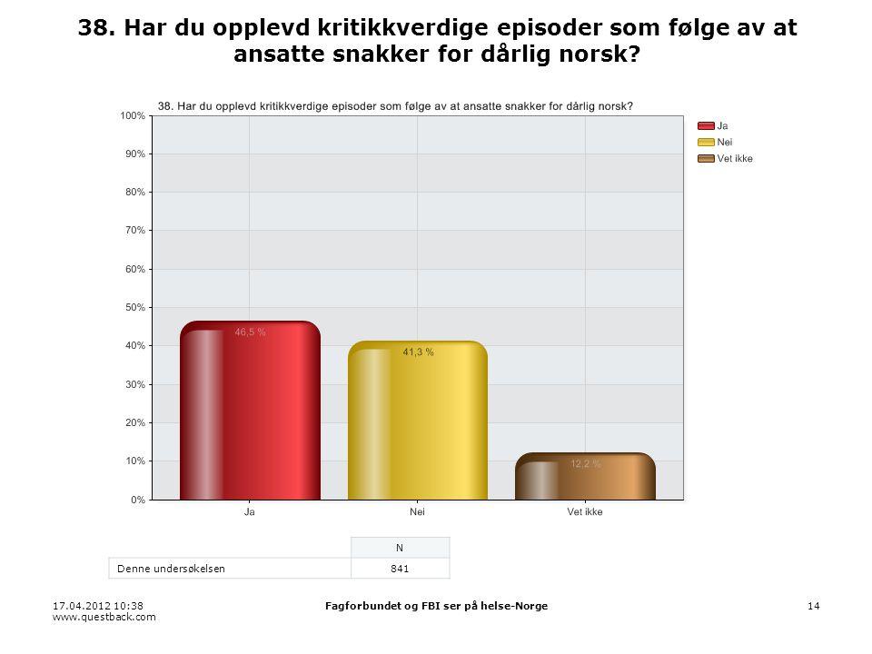 17.04.2012 10:38 www.questback.com Fagforbundet og FBI ser på helse-Norge14 38.