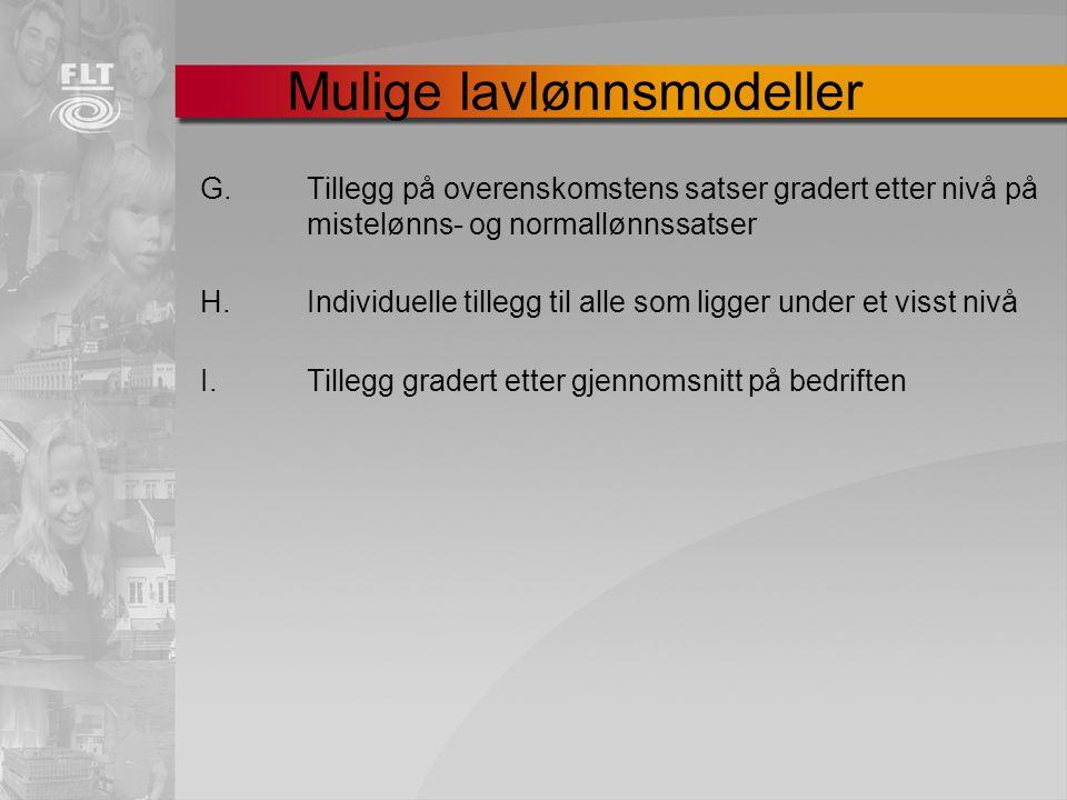 G. Tillegg på overenskomstens satser gradert etter nivå på mistelønns- og normallønnssatser H. Individuelle tillegg til alle som ligger under et visst