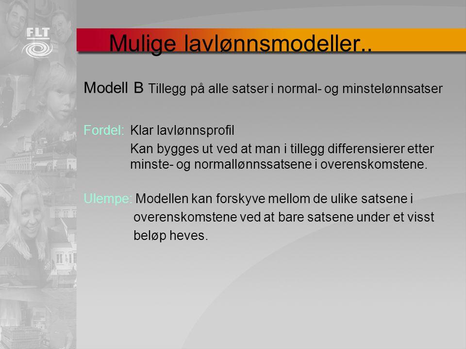 Mulige lavlønnsmodeller.. Modell B Tillegg på alle satser i normal- og minstelønnsatser Fordel: Klar lavlønnsprofil Kan bygges ut ved at man i tillegg