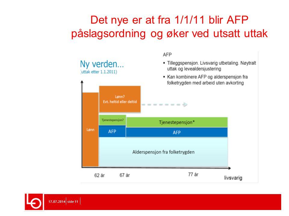 17.07.2014side 11 Det nye er at fra 1/1/11 blir AFP påslagsordning og øker ved utsatt uttak