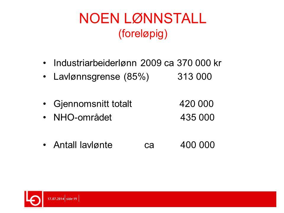 17.07.2014side 19 Industriarbeiderlønn 2009 ca 370 000 kr Lavlønnsgrense (85%) 313 000 Gjennomsnitt totalt 420 000 NHO-området 435 000 Antall lavlønte