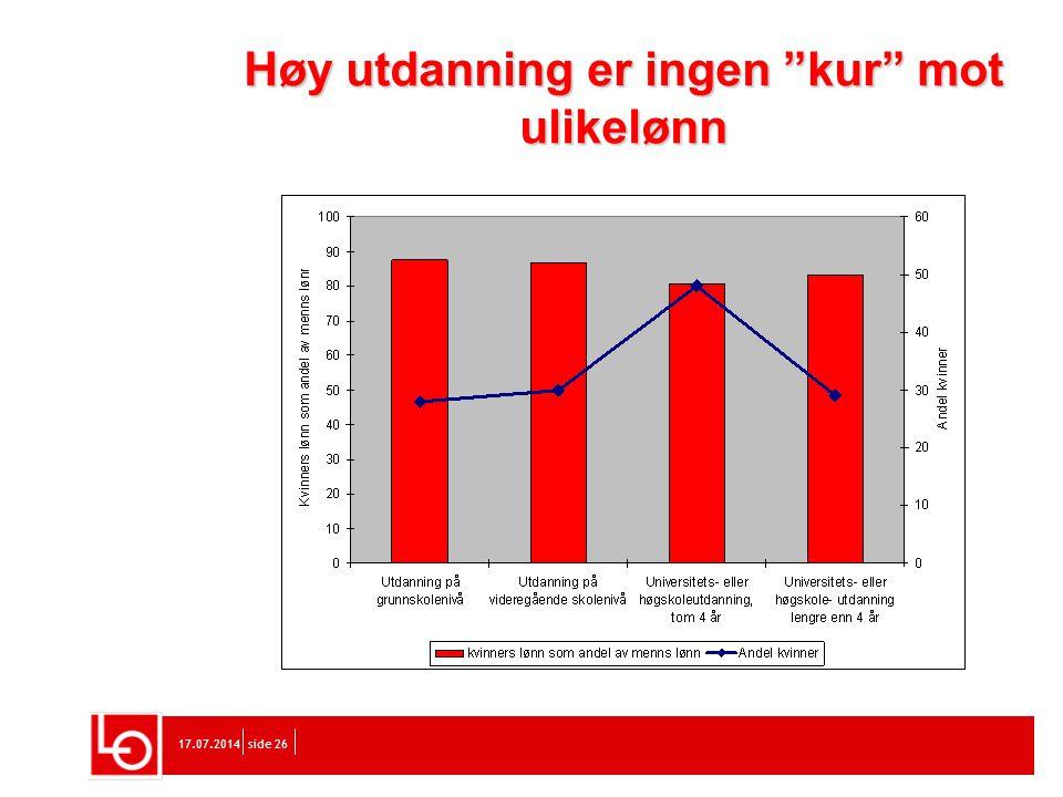 """17.07.2014side 26 Høy utdanning er ingen """"kur"""" mot ulikelønn"""
