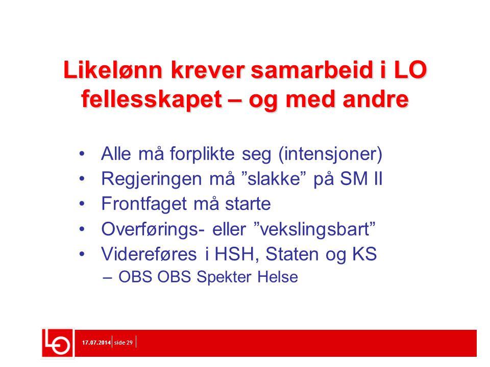 """17.07.2014 side 29 Likelønn krever samarbeid i LO fellesskapet – og med andre Alle må forplikte seg (intensjoner) Regjeringen må """"slakke"""" på SM II Fro"""