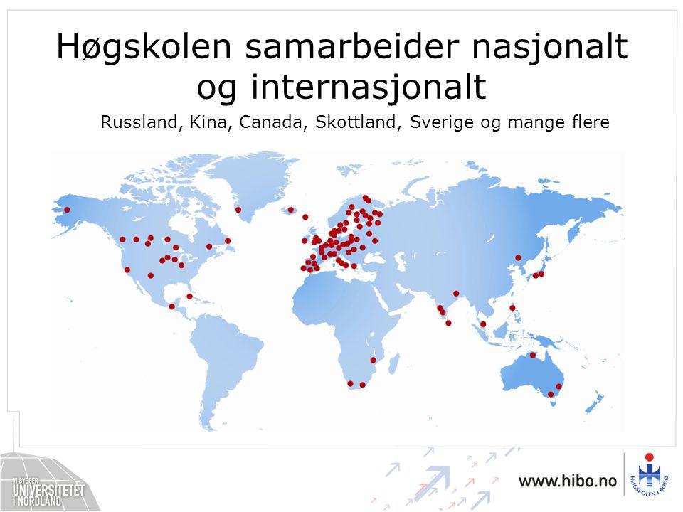 Høgskolen samarbeider nasjonalt og internasjonalt Russland, Kina, Canada, Skottland, Sverige og mange flere