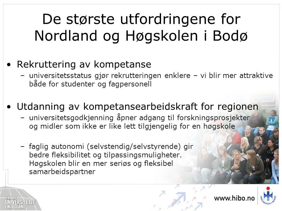 De største utfordringene for Nordland og Høgskolen i Bodø Rekruttering av kompetanse –universitetsstatus gjør rekrutteringen enklere – vi blir mer att