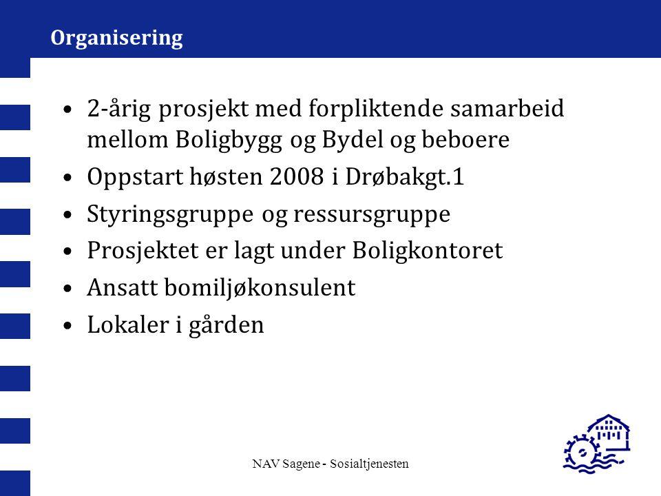 NAV Sagene - Sosialtjenesten Organisering 2-årig prosjekt med forpliktende samarbeid mellom Boligbygg og Bydel og beboere Oppstart høsten 2008 i Drøba