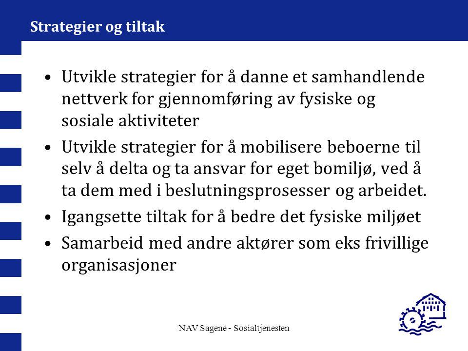 NAV Sagene - Sosialtjenesten Strategier og tiltak Utvikle strategier for å danne et samhandlende nettverk for gjennomføring av fysiske og sosiale akti