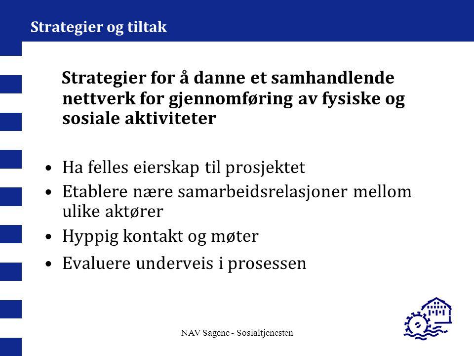 NAV Sagene - Sosialtjenesten Strategier og tiltak Strategier for å danne et samhandlende nettverk for gjennomføring av fysiske og sosiale aktiviteter
