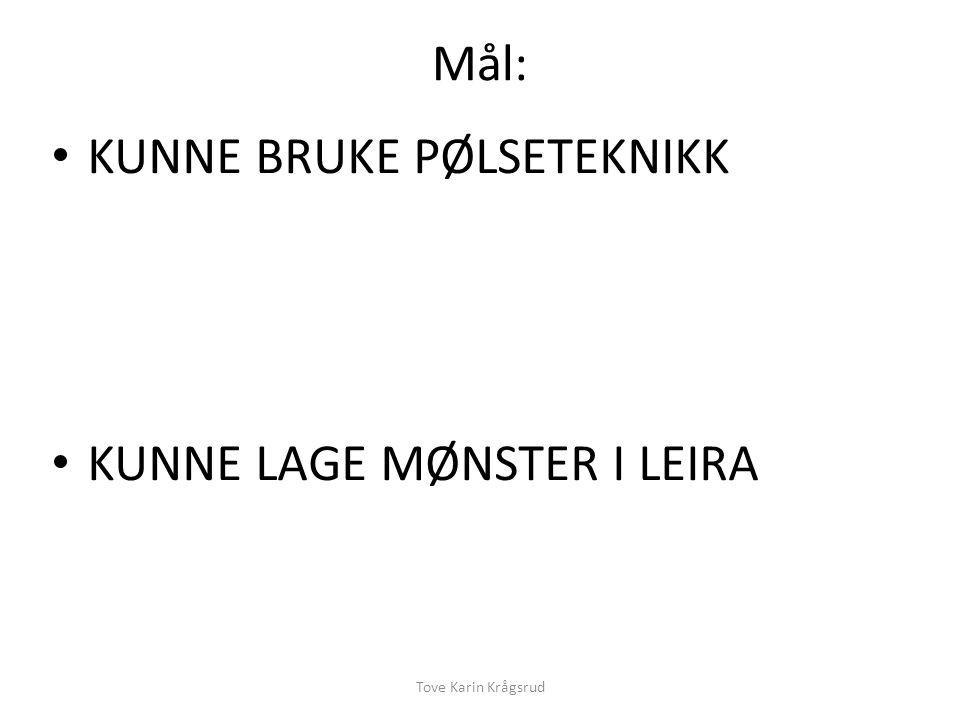Mål: KUNNE BRUKE PØLSETEKNIKK KUNNE LAGE MØNSTER I LEIRA Tove Karin Krågsrud