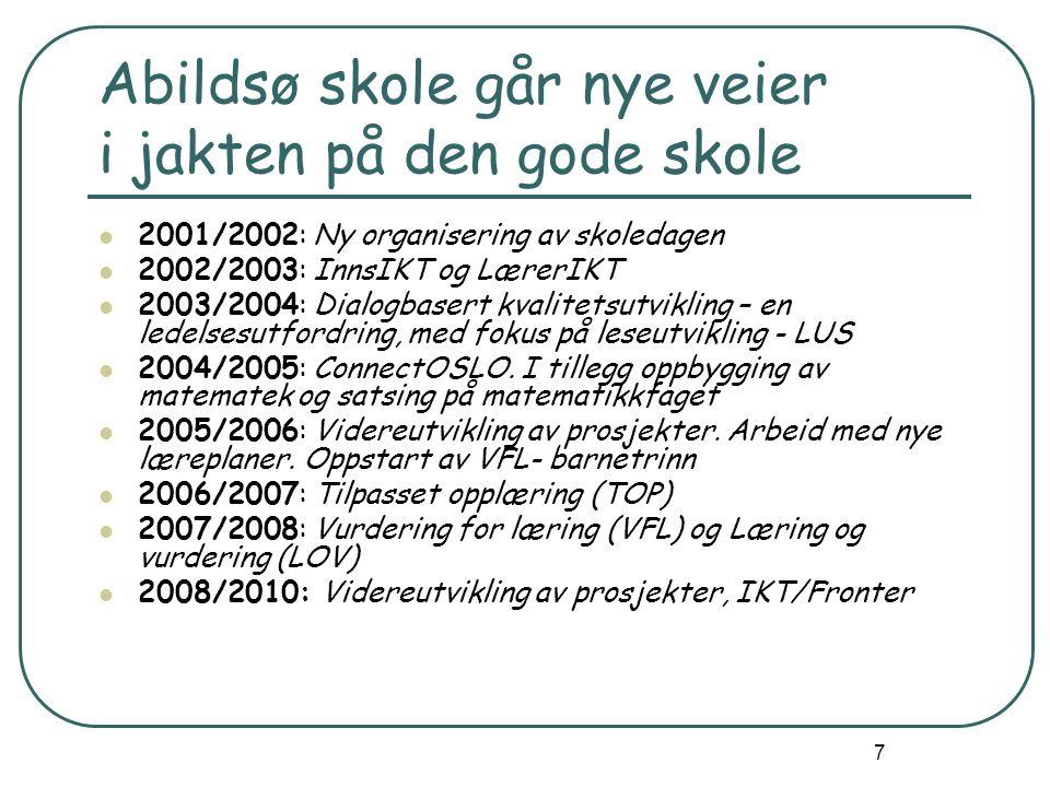 7 Abildsø skole går nye veier i jakten på den gode skole 2001/2002: Ny organisering av skoledagen 2002/2003: InnsIKT og LærerIKT 2003/2004: Dialogbasert kvalitetsutvikling – en ledelsesutfordring, med fokus på leseutvikling - LUS 2004/2005: ConnectOSLO.