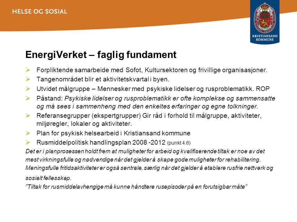 EnergiVerket – faglig fundament  Forpliktende samarbeide med Sofot, Kultursektoren og frivillige organisasjoner.  Tangenområdet blir et aktivitetskv