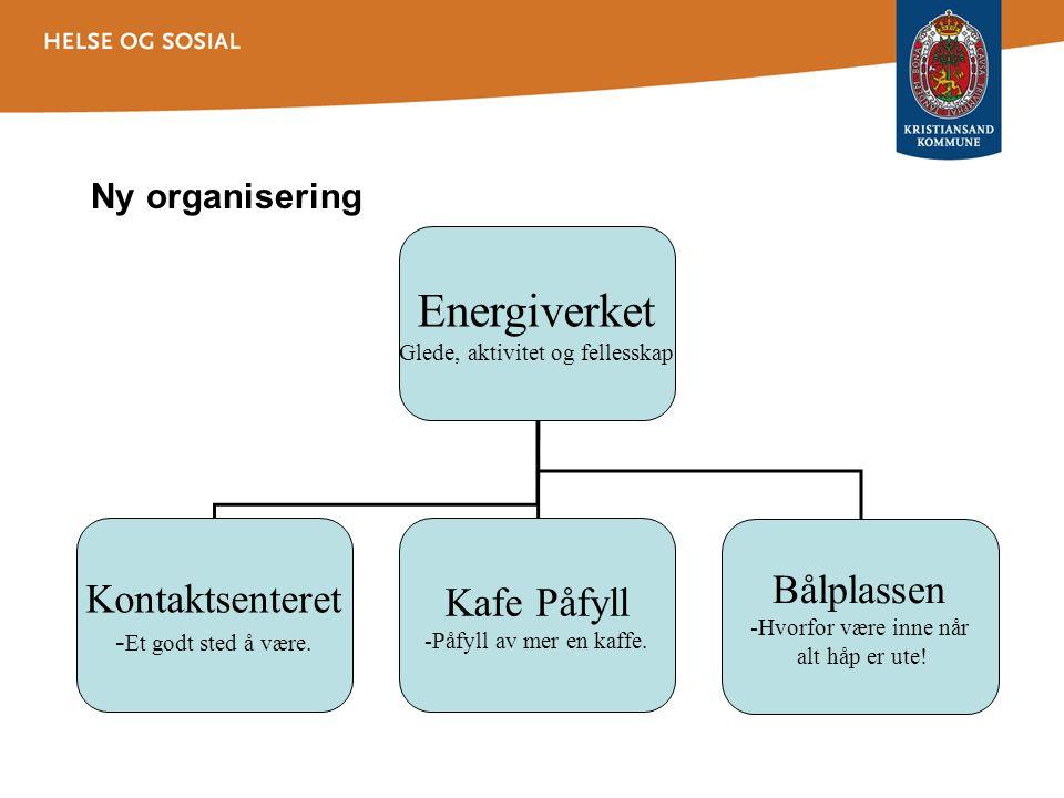 Ny organisering Energiverket Glede, aktivitet og fellesskap Kontaktsenteret - Et godt sted å være. Kafe Påfyll -Påfyll av mer en kaffe. Bålplassen -Hv