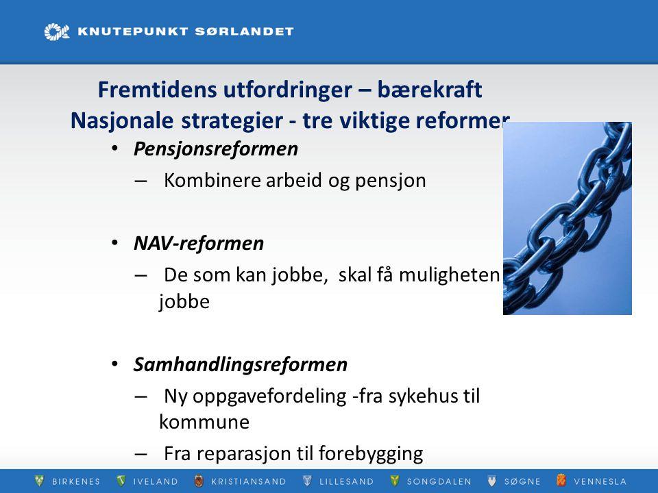 Fremtidens utfordringer – bærekraft Nasjonale strategier - tre viktige reformer Pensjonsreformen – Kombinere arbeid og pensjon NAV-reformen – De som k