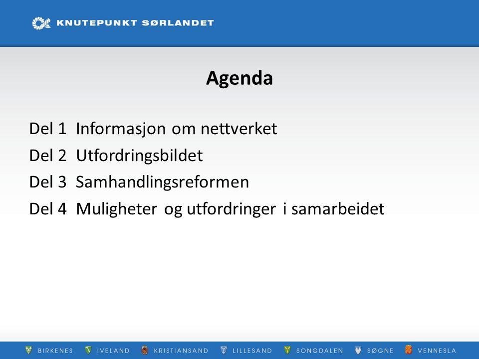 Agenda Del 1 Informasjon om nettverket Del 2 Utfordringsbildet Del 3 Samhandlingsreformen Del 4 Muligheter og utfordringer i samarbeidet