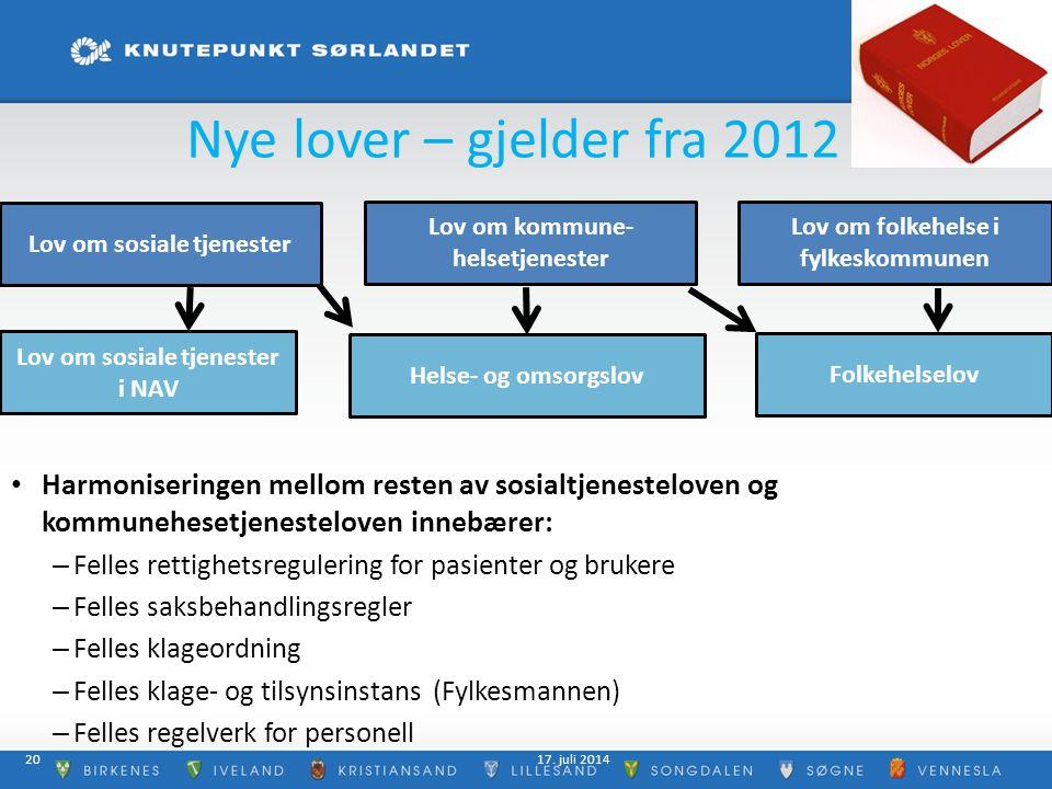 Nye lover – gjelder fra 2012 Harmoniseringen mellom resten av sosialtjenesteloven og kommunehesetjenesteloven innebærer: – Felles rettighetsregulering